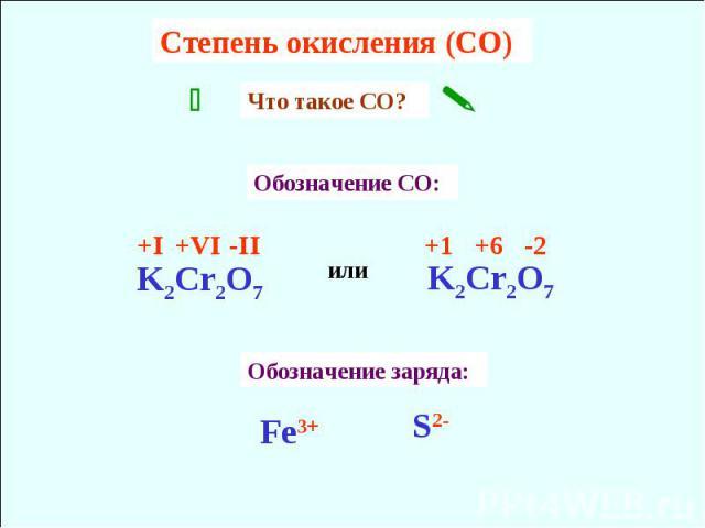 Cтепень окисления (CO) Что такое CО? Обозначение CO: Обозначение заряда: