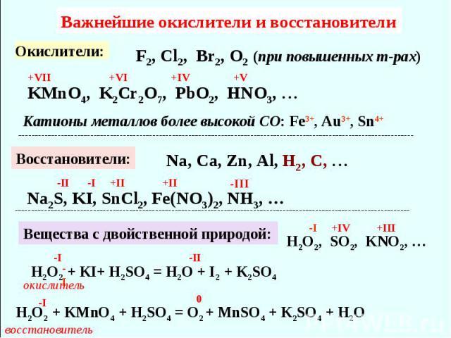 Важнейшие окислители и восстановители F2, Cl2, Br2, О2 (при повышенных т-рах) KMnO4, K2Cr2O7, PbO2, HNO3, Катионы металлов более высокой CO: Fe3+, Au3+, Sn4+ Восстановители: Na, Ca, Zn, Al, H2, C, Na2S, KI, SnCl2, Fe(NO3)2, NH3, … Вещества с двойств…