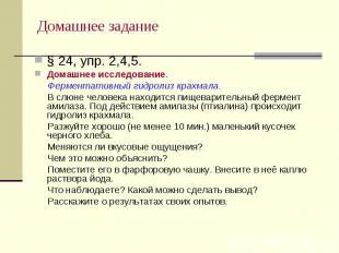 Домашнее задание § 24, упр. 2,4,5.Домашнее исследование. Ферментативный гидролиз