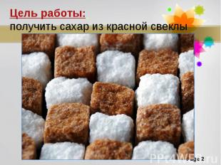 Цель работы: получить сахар из красной свеклы