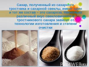 Сахар, полученный из сахарного тростника и сахарной свеклы, имеет один и тот же