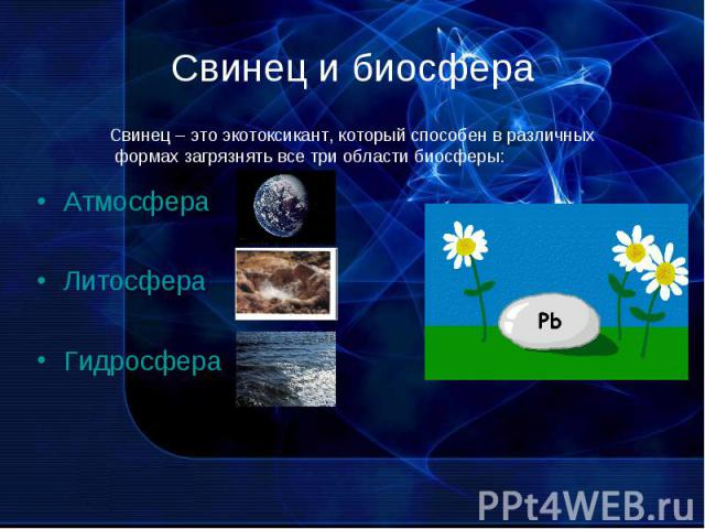 Свинец и биосфера Свинец – это экотоксикант, который способен в различных формах загрязнять все три области биосферы: АтмосфераЛитосфераГидросфера