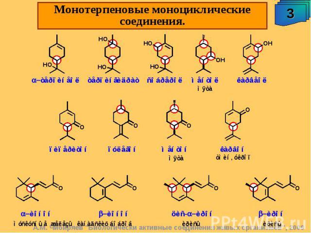 Монотерпеновые моноциклические соединения.