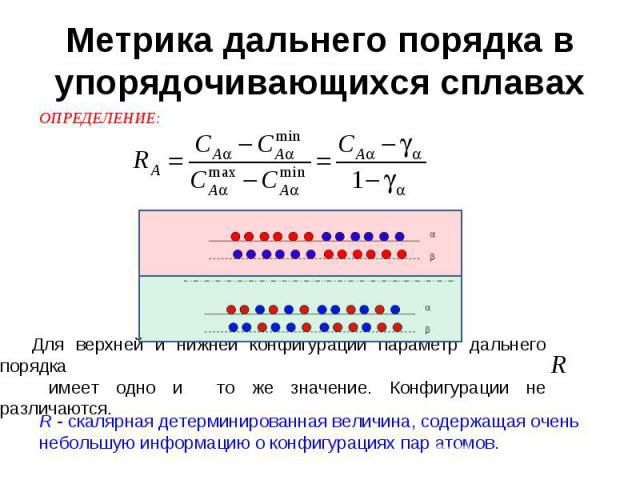 Метрика дальнего порядка в упорядочивающихся сплавах Для верхней и нижней конфигураций параметр дальнего порядка имеет одно и то же значение. Конфигурации не различаются. R - скалярная детерминированная величина, содержащая очень небольшую информаци…
