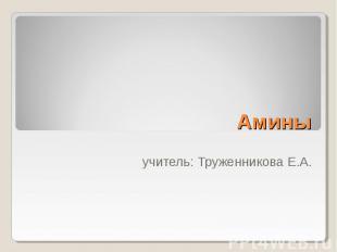Амины учитель: Труженникова Е.А.
