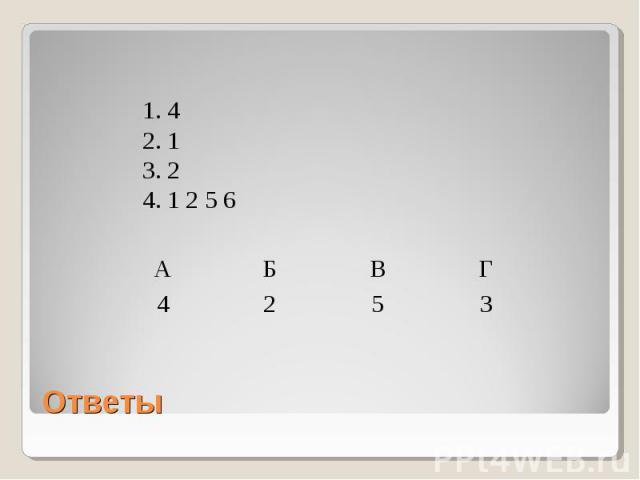 1. 42. 13. 24. 1 2 5 6 Ответы
