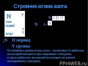 Строение атома азота 7N II период V группа На внешнем уровне атома азота – вален