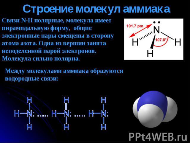 Связи N-H полярные, молекула имеет пирамидальную форму, общие электронные пары смещены в сторону атома азота. Одна из вершин занята неподеленной парой электронов. Молекула сильно полярна. Между молекулами аммиака образуются водородные связи: