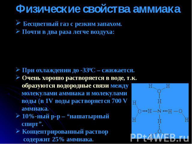 Физические свойства аммиака Бесцветный газ с резким запахом. Почти в два раза легче воздуха: При охлаждении до -330С – cжижается. Очень хорошо растворяется в воде, т.к. образуются водородные связи между молекулами аммиака и молекулами воды (в 1V вод…