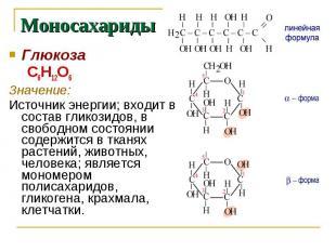 Моносахариды Глюкоза С6Н12О6Значение: Источник энергии; входит в состав гликозид