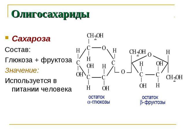 Олигосахариды СахарозаСостав:Глюкоза + фруктозаЗначение:Используется в питании человека