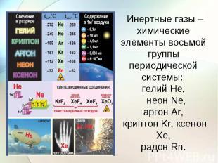 Инертные газы – химические элементы восьмой группы периодической системы: гелий