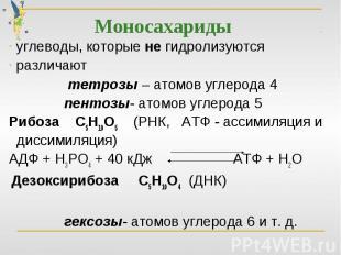 Моносахариды углеводы, которые не гидролизуются различают тетрозы – атомов углер