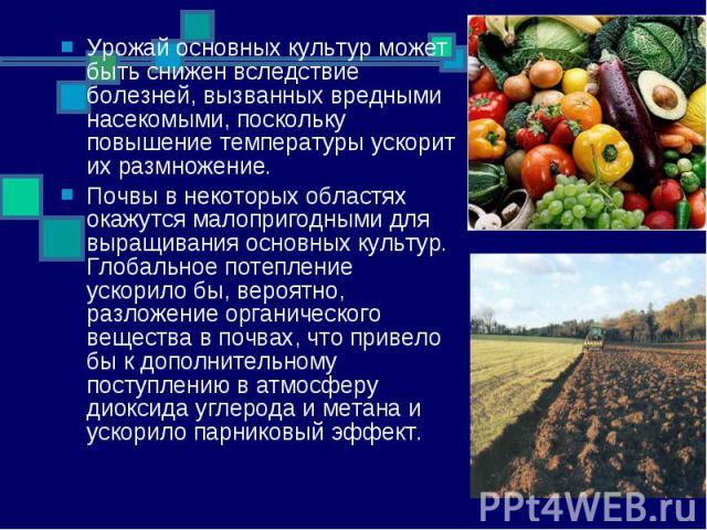 Урожай основных культур может быть снижен вследствие болезней, вызванных вредными насекомыми, поскольку повышение температуры ускорит их размножение. Почвы в некоторых областях окажутся малопригодными для выращивания основных культур. Глобальное пот…