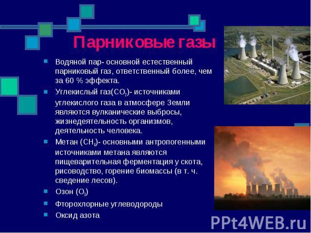 Парниковые газы Водяной пар- основной естественный парниковый газ, ответственный более, чем за 60% эффекта. Углекислый газ(CO2)- источниками углекислого газа в атмосфере Земли являются вулканические выбросы, жизнедеятельность организмов, деятельнос…