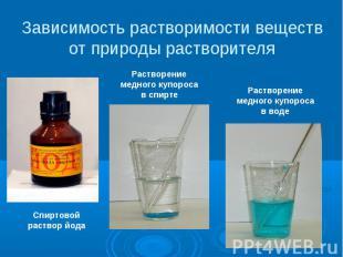 Зависимость растворимости веществ от природы растворителя Спиртовой раствор йода