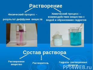 Растворение Физический процесс –результат диффузии веществ Химический процесс –в