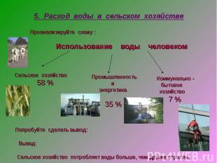5. Расход воды в сельском хозяйстве Проанализируйте схему : Использование воды ч