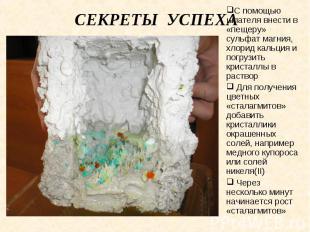 Секреты успеха С помощью шпателя внести в «пещеру» сульфат магния, хлорид кальци