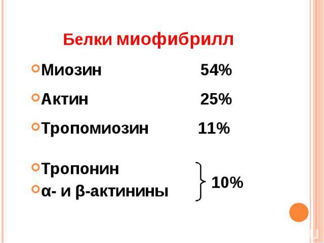 Белки миофибрилл Миозин 54%Актин 25%Тропомиозин 11%Тропонин α- и β-актинины