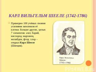 Карл Вильгельм Шееле (1742-1786) Примерно 100 учёных своими усилиями заполнили е