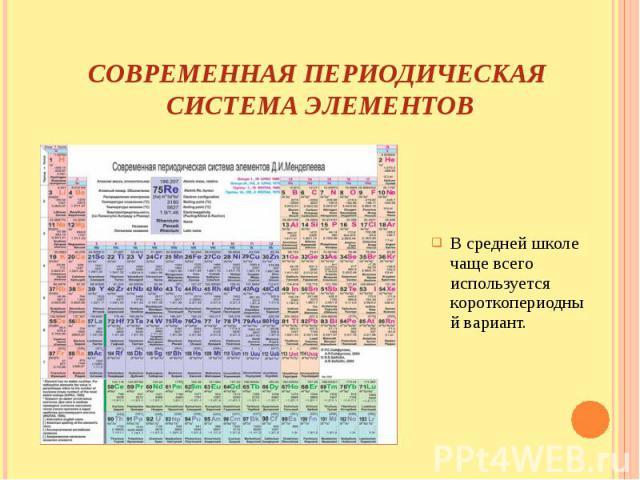 Современная периодическая система элементов В средней школе чаще всего используется короткопериодный вариант.