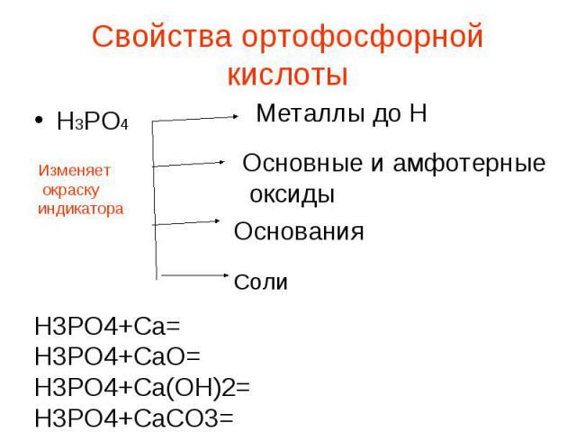 Свойства ортофосфорной кислоты Н3РО4 Металлы до Н Основные и амфотерные оксиды Основания Н3РО4+Са=Н3РО4+СаО=Н3РО4+Са(ОН)2=Н3РО4+СаСО3=