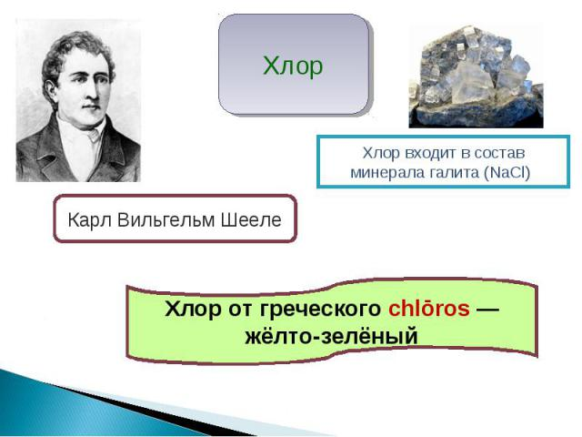 Хлор Карл Вильгельм Шееле Хлор входит в состав минерала галита (NаCl) Хлор от греческого chlōros — жёлто-зелёный