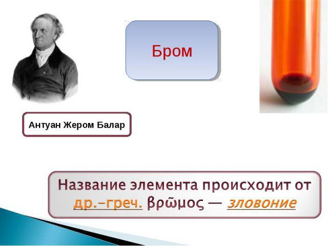 Бром Антуан Жером Балар Название элемента происходит от др.-греч. βρῶμος— зловоние