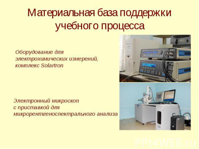 Материальная база поддержки учебного процесса Оборудование для электрохимических измерений, комплекс Solartron Электронный микроскоп с приставкой для микрорентгеноспектрального анализа