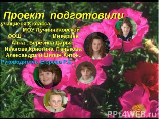 Проект подготовили учащиеся 8 класса МОУ Лучинниковской ООШ Микерина Анна , Берё