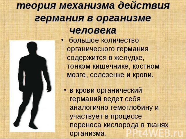 теория механизма действия германия в организме человека большое количество органического германия содержится в желудке, тонком кишечнике, костном мозге, селезенке и крови. в крови органический германий ведет себя аналогично гемоглобину и участвует в…
