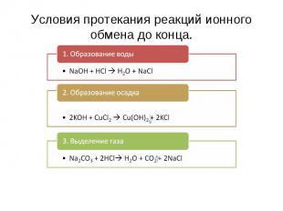 Условия протекания реакций ионного обмена до конца. 1. Образование воды NaOH + H
