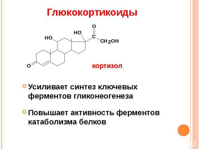 Глюкокортикоиды Усиливает синтез ключевых ферментов гликонеогенезаПовышает активность ферментов катаболизма белков