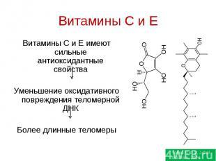 Витамины C и E Витамины С и Е имеют сильные антиоксидантные свойстваУменьшение о