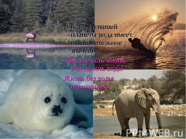 В истории нашей планеты вода имеет исключительное значение.Там, где есть жизнь, всегда есть вода!Жизнь без воды невозможна!