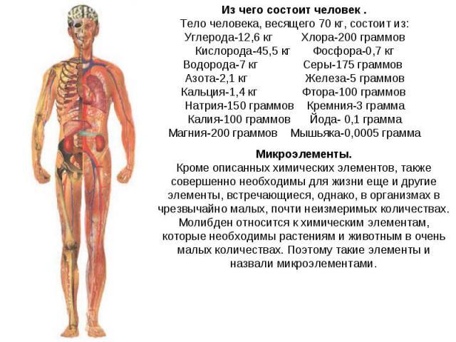 Из чего состоит человек .Тело человека, весящего 70 кг, состоит из:Углерода-12,6 кг Хлора-200 граммовКислорода-45,5 кг Фосфора-0,7 кгВодорода-7 кг Серы-175 граммов Азота-2,1 кг Железа-5 граммовКальция-1,4 кг Фтора-100 граммов Натрия-150 граммов Крем…