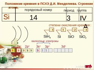 Положение кремния в ПСХЭ Д.И. Менделеева. Строение атома. степени окисления крем