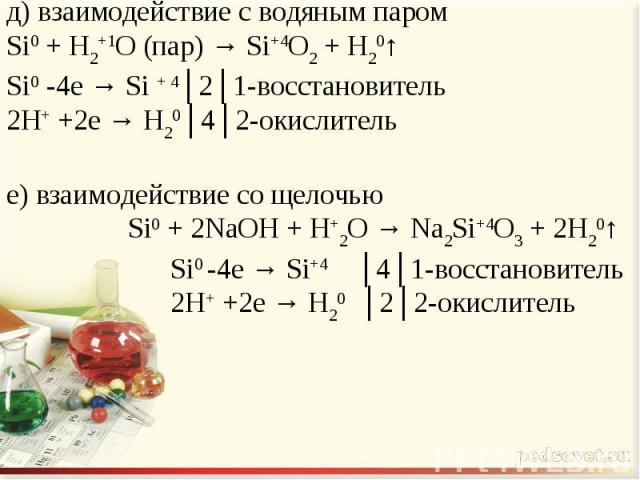 д) взаимодействие с водяным паромSi0 + H2+1O (пар) → Si+4O2 + H20↑Si0 -4e → Si + 4│2│1-восстановитель2H+ +2e → H20│4│2-окислителье) взаимодействие со щелочью Si0 + 2NaOH + H+2O → Na2Si+4O3 + 2H20↑ Si0 -4e → Si+4 │4│1-восстановитель 2H+ +2e → H20 │2│…