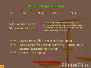 Виды оксидов азота N2O NO N2O3 NO2 N2O5 N2O – оксид азота(I) NO – оксид азота(II