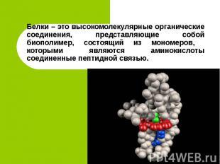 Белки – это высокомолекулярные органические соединения, представляющие собой био