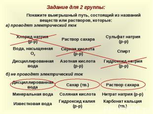 Задание для 2 группы:Покажите выигрышный путь, состоящий из названий веществ или