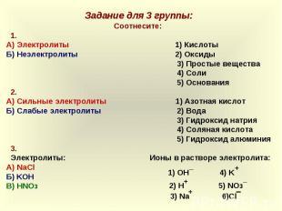 Задание для 3 группы:Соотнесите: 1.А) Электролиты 1) КислотыБ) Неэлектролиты 2)