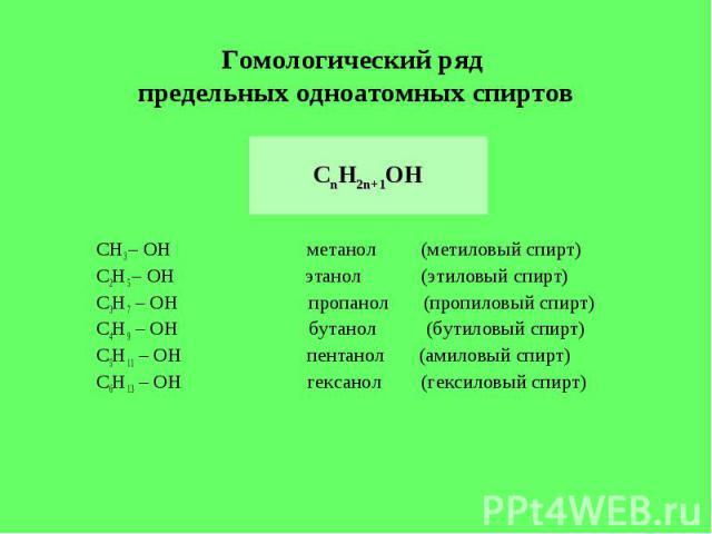 Гомологический ряд предельных одноатомных спиртов СnH2n+1OH СН3 – ОН метанол (метиловый спирт)С2Н5 – ОН этанол (этиловый спирт)С3Н7 – ОН пропанол (пропиловый спирт)С4Н9 – ОН бутанол (бутиловый спирт)С5Н11 – ОН пентанол (амиловый спирт)С6Н13 – ОН гек…