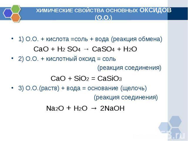 ХИМИЧЕСКИЕ СВОЙСТВА ОСНОВНЫХ ОКСИДОВ (О.О.) 1) О.О. + кислота =соль + вода (реакция обмена) CaO + H2 SO4 → CaSO4 + H2O2) О.О. + кислотный оксид = соль (реакция соединения) СaO + SiO2 =CaSiO33) О.О.(раств) + вода = основание (щелочь) (реакция соедин…