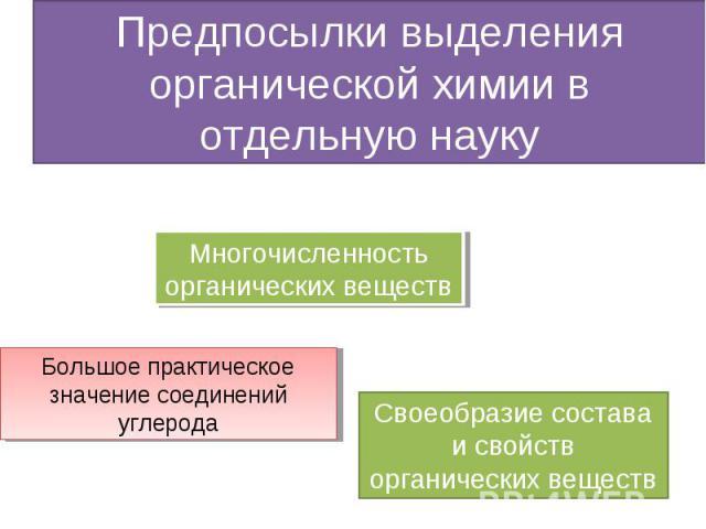 Предпосылки выделения органической химии в отдельную науку Многочисленность органических веществ Большое практическое значение соединений углерода Своеобразие состава и свойств органических веществ
