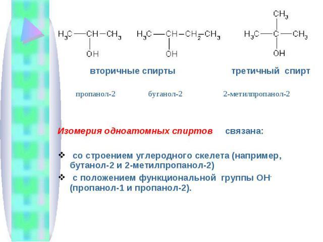 вторичные спирты третичный спирт Изомерия одноатомных спиртов связана: со строением углеродного скелета (например, бутанол-2 и 2-метилпропанол-2) с положением функциональной группы ОН - (пропанол-1 и пропанол-2).