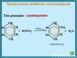 Химические свойства углеводородов Тип реакции - замещение