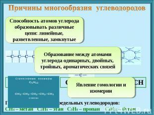 Причины многообразия углеводородов Способность атомов углерода образовывать разл
