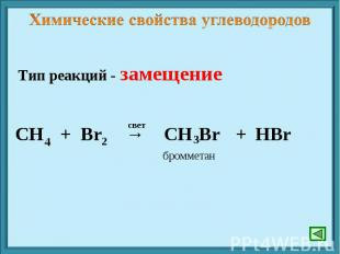 Химические свойства углеводородов Тип реакций - замещение